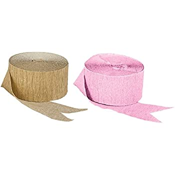 Pink and Dark Metallic Gold Crepe Paper Streamers; Made in USA