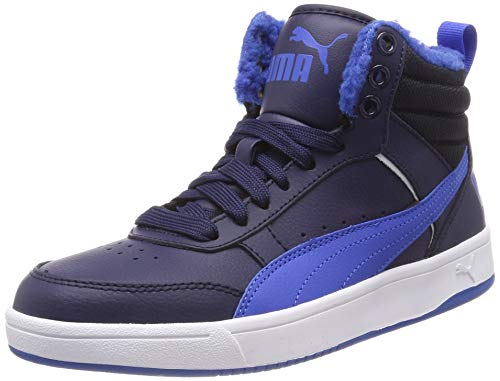Puma Unisex-Kinder Rebound Street V2 FUR JR Hohe Sneaker, Blau (Peacoat-Strong Blue White 05), 38 EU