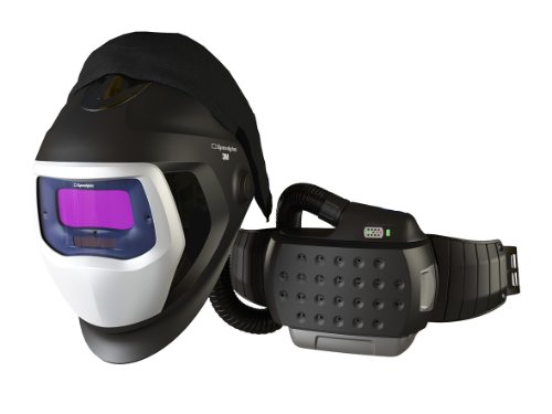 3M 35-3301-10SW Powered Air Purifying Respirator Organic Vapor/Acid Gas and High Efficiency System with 3M Speedglas Welding Helmet 9100-Air, Lithium Ion Battery, Side Windows and Auto-Darkening Filter 9100V, Shades 5, 8-13