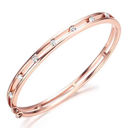 GEORGE · SMITH Rose Gold Bangle Bracelets for Women Ladies Lucky Bracelets Crystal from Swarovski, Mother's Day Birthday Gifts for Mum Wife Girlfriend