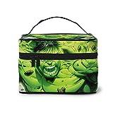 Bolsa de maquillaje Hulk, diseño de dibujos animados, con asa de viaje, personalizable, con compartimentos para adolescentes, mujeres, color blanco y negro