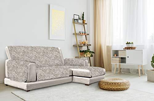 Italian Bed Linen Glamour Copridivano Antiscivolo con Penisola DX, Marrone, 240 cm