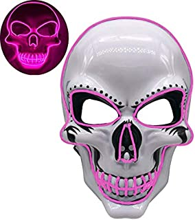 Motorcycle Face Mask - Dropship 2019 Halloween LED Face Mask Motorcycle Face Shield EL-Wire Light Up Scary Mask Glow in The Dark Warmer Mask Motocross (Pink)