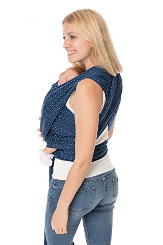 GoFuture® Babytragetuch Tragetuch HERZanHERZ elastisch zum Baby tragen 5m lang zertifizierter Stoff höchste Qualität GoFutureWithLove (Marine mit türkisen Punkten)