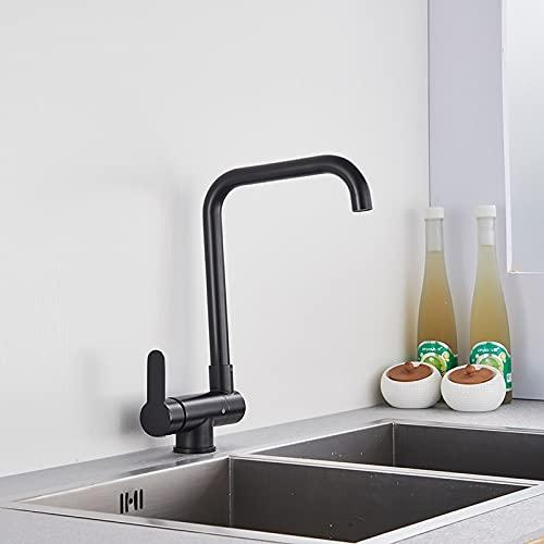 Grifo de la cocina Grifo de fregadero de cocina negro Rotación 360 con cubierta de 10 pulgadas Grifo mezclador de una manija Grifo de fregadero Grúa Fregadero de agua fría y caliente