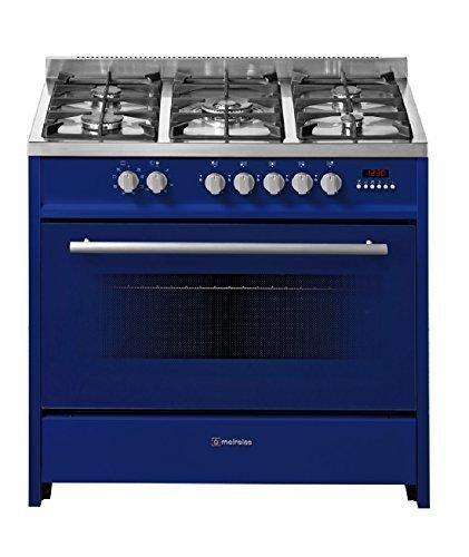Meireles Gasherd mit 5 Brennern und Elektro-Backofen blau 90cm EV8 90 SP BU-D