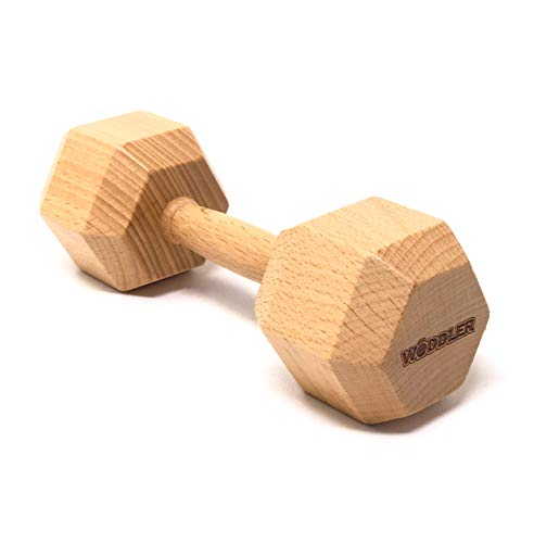 Wooden Dumbbell Baby Rattle Toy - Natural Untreated Wood - Perfect Toddler Gift for Crossfit Parents Baby Shower WOD (Natural)