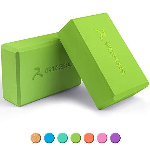 arteesol Eva Yoga Block Set, Yoga-Stein aus hochdichtem Schaumstoff mit Yoga-Gürtel, Yoga-Zubehör für Yoga, Meditation, Pilates, Stretching 2er Pack (Grün-2 Pack)