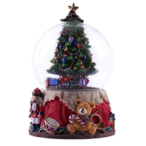 Clevoers Weihnachtsbaum Spieluhr Mit Leichter Rotierender Harzkristallkugel Weihnachtsbaum Kristallkugel Spieluhr Nussknacker Rotierende Kristallspieluhr Mit Tannenbaum & Licht