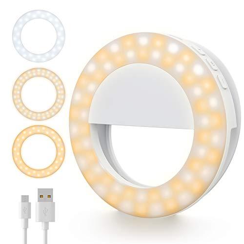 Gospire Selfie Ring Licht Handy Selfie Licht mit 60 Led Licht 3 Lichtmodi 4 Helligkeitsstufen USB Wiederaufladbar Ringlicht Ringleuchte Live Licht für iPhone Android iPad Laptop Halbkreis