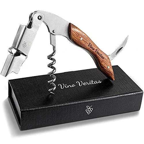 Vino Veritas® Kellnermesser (Korkenzieher Wein) - Gratis Sommelier eBook - Premium Weinöffner aus rostfreiem Edelstahl mit hochwertigem Naturholzgriff als Kellnerbesteck