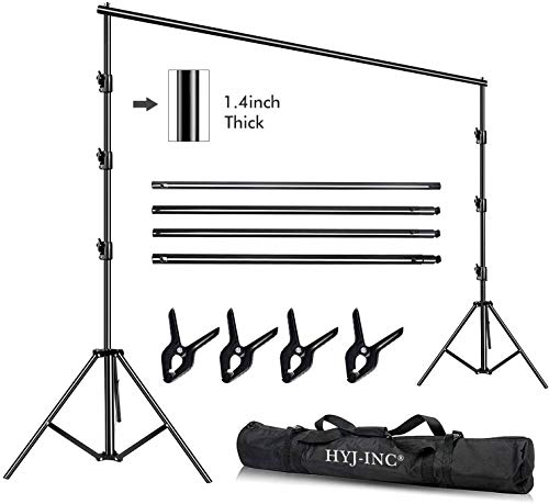 HYJ-INC 10 x 10Ft Photo Video Studio Heavy Duty Adjustable Muslin Backdrop Stand Background Support System Kit for Photography with Carrying Bag,4 Pcs Spring Clamps