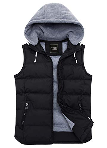 ZSHOW Women's Winter Padded Vest Removable Hooded Outwear Jacket US Small, Black
