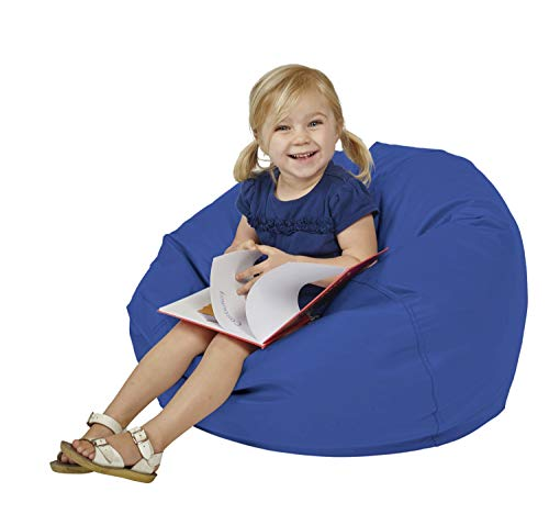 "FDP SoftScape Classic 26"" Junior Bean Bag Chair, Furniture for Kids, Perfect for Reading, Playing Video Games or Relaxing, Alternative Seating for Classrooms, Daycares, Libraries or Home - Blue"