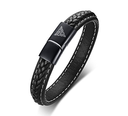 VNOX Black Genuine Leather Braided Celtic Knot Stainless Steel Magnetic Clasp Cuff Band Bracelet,8.3'