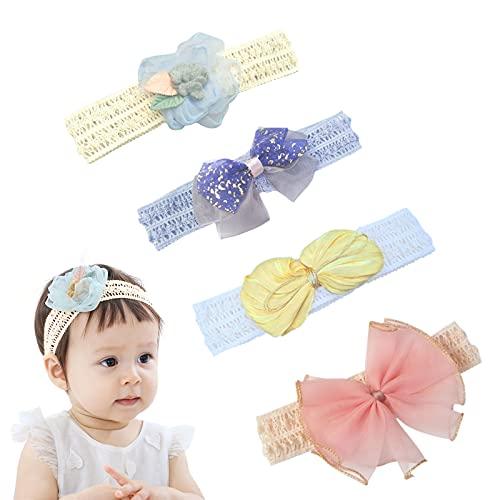 KOIROI Cinta de grogrén para niñas pequeñas, niñas pequeñas, turbante, diadema, diadema, diadema, accesorios para bebé, joyas, flores, diadema para niñas pequeñas (4 unidades)
