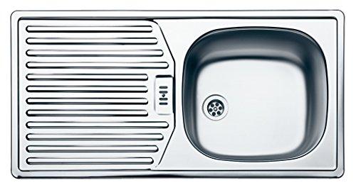 Rieber Einbauspüle E 86 K, Edelstahl Küchenspüle MADE IN GERMANY 860x435 mm 1 Becken mit Abtropffläche Spülbecken glatt langlebig und rostfrei