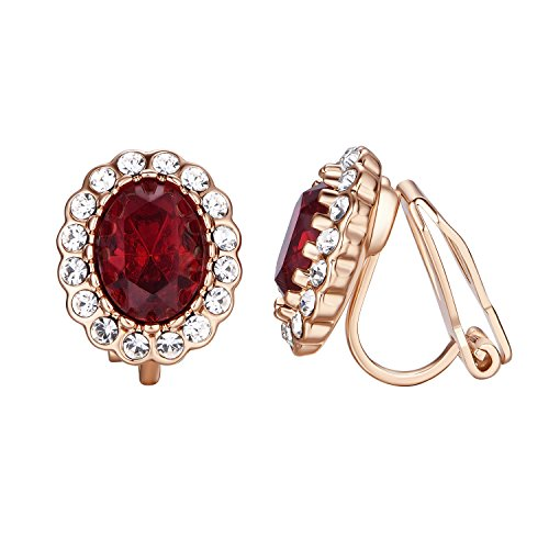 Yoursfs Art Deco Clip On Earrings Fancy Halo Crystal Burgundy Red Ruby Earrings for Women Prom Party 18ct Rose Gold Plated Fashion Jewellery