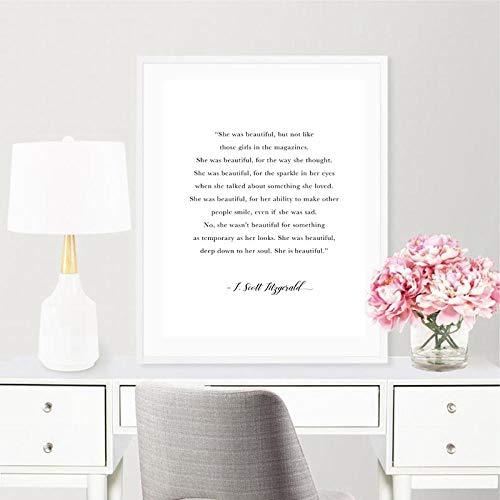 Leinwand Druck Plakat F. Scott Fitzgerald Zitat Print Sie War Schönes Geschenk Für Ihre Motivierende Wand Poster Leinwand Gemälde Mädchen Room Decor