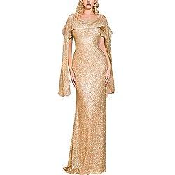 Gold Bodycon Ruffle Elegant Maxi Dress