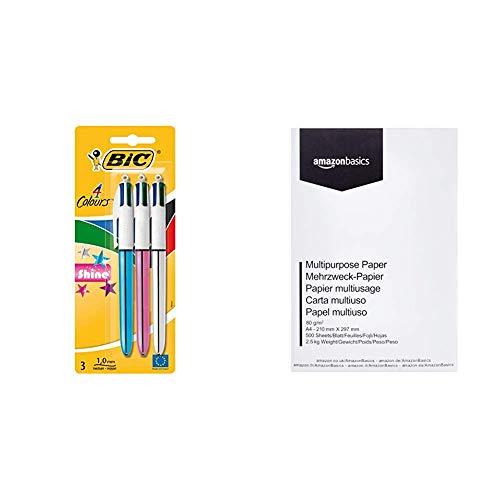 BIC 4 colores Shine Bolígrafo Retráctil punta media (1,0 mm) – colores Metálicos Surtidos, Blíster de 2+1 & Amazon Basics Papel multiusos para impresora A4 80gsm, 1 paquete, 500 hojas, blanco