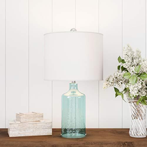 Lavish Home Blue Glass Lamp-Open Base Table Light, LED Bulb and Shade-Modern Decorative Lighting for Coastal, Nautical, Rustic Cottage Styles