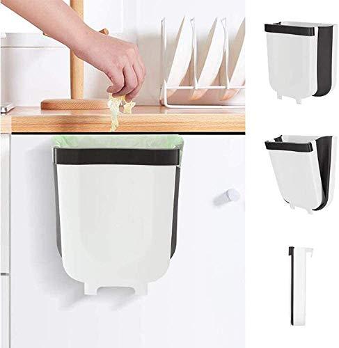 Queta Contenedor de Basura Plegable, 9L Contenedor Colgante de Pared, Cubo de Basura para Cocina Automóvil Baño Oficina Dormitorio (Blanco-Negro)
