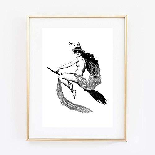 Din A4 Kunstdruck ungerahmt - Hexe auf Besen Wicca Hexerei Gothic Vintage Zeichnung Antik Retro Druck Poster Bild