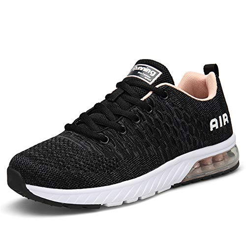 Damen Laufschuhe Gym Sportschuhe Straßenlaufschuhe Outdoor Trainers Atmungsaktiv Turnschuhe Joggen Schuhe Freizeit Sneaker(Grau/Pink, 36EU)