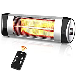 PATIOBOSS Electric Patio Heater, Outdoor Wall-Mounted Infrared Heater with Remote Control and LED Display, Fast Heating, Waterproof and Quiet