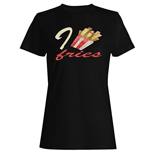 INNOGLEN Amo Papas Fritas Camiseta de Las Mujeres p116f