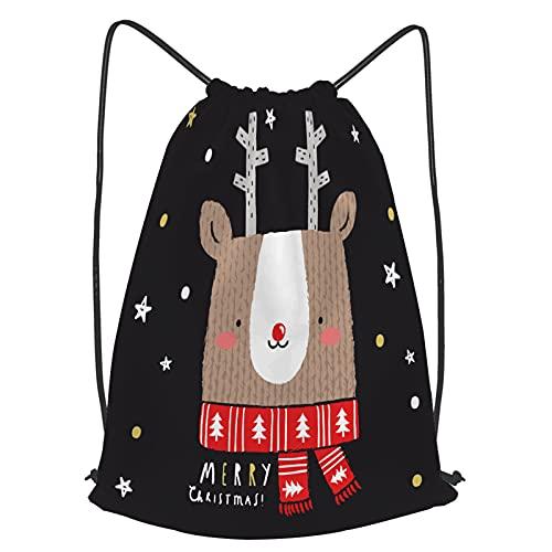 fudin Impermeable Bolsa de Cuerdas Saco de Gimnasio ciervo, ilustración, bebé Deporte Mochila para Playa Viaje Natación
