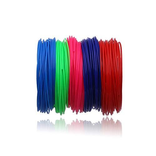 Filamento della penna di stampa 3D, Fayella 100 metri 10 colori 1.75 MM Materiali del filamento PLA per filati 3D Materiali di consumo per stampanti di plastica Regali fai da te, 50 metri 5 colori