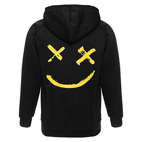 XIAOYAO Herren Basic Kapuzenpullover Sweatjacke Pullover Hoodie Sweatshirt (4XL, Schwarz)