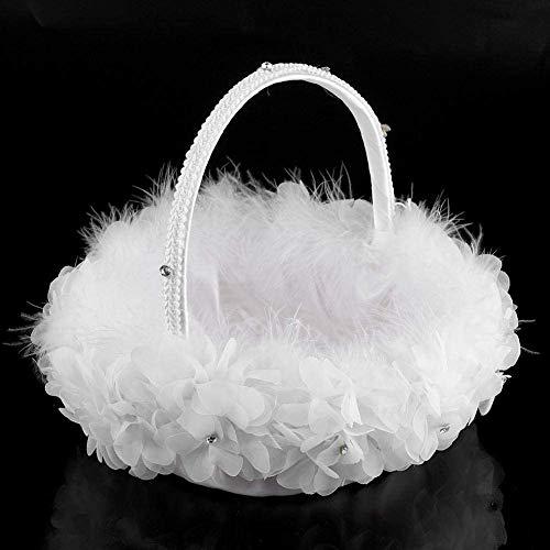 Blumenmädchen-Korb, weiße Straußenfedern mit Spitze, Blumenmädchen, Brautkorb für romantische Hochzeiten, Zeremonien, Party-Dekoration