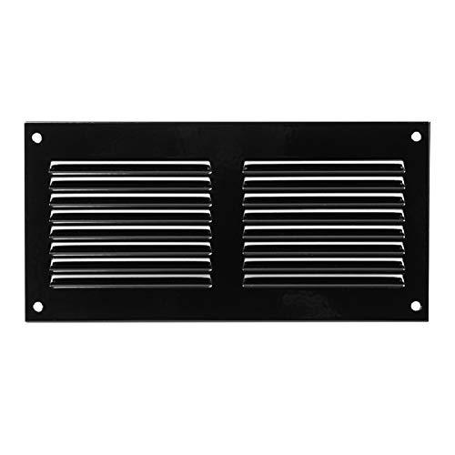 Rejilla de ventilación con protección contra insectos, 200 x 100 mm, color negro