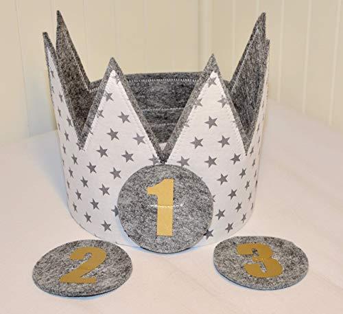 Geburtstagskrone Der Wollprinz Krone, Kinder Geburtstag-Krone Kinderkrone Geburtstagskrone, Stoffkrone Weiss/Grau mit den Zahlen 1,2,3