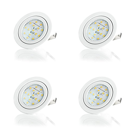 Sweet Led Design Plat Spot LED encastrable Ultra Plat | Applique encastrables Meubles – | 230 V | 4er Pack-weiß Rahmen - Warmweiß