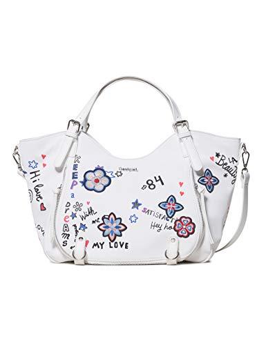 Desigual Bag Shibuya Rotterdam Women - Borse a spalla Donna, Bianco (Blanco), 15x30x31 cm (B x H T)
