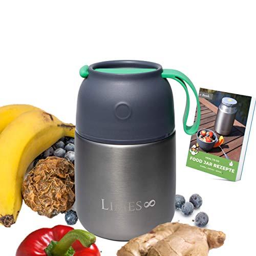 Limes 8 ® Thermobehälter, hochwertige Edelstahl Lunchbox, auslaufsicherer Speisebehälter (Grau/Grün 500ml)