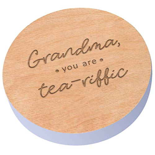 """Lavender Wooden Coaster -""""Grandma You are Tea-Riffic"""" Design - Best Grandma Gifts - Mothers Day Gifts for Grandma from Granddaughter - Grandma Birthday Gifts"""