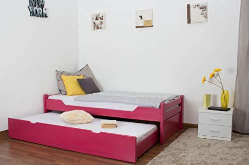 Einzelbett/Gästebett'Easy Premium Line' K1/1h inkl. 2. Liegeplatz und 2 Abdeckblenden, 90 x 200 cm Buche Vollholz massiv Rosa