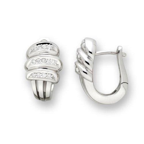 Miore Ohrringe Damen 0.17 Ct Diamant Ohrclips aus Weißgold 14 Karat / 585 Gold, Ohrschmuck mit Diamanten Brillanten