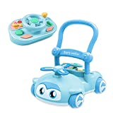Sit-to-Stand Learning Baby Walker, 2 in 1 Walker for Baby Boy Girl, EVA Flash Lamp Blades, Kids Early Educational Detachable Activity Center, Baby Push Walkers for Gift Babies Over 10 Months(Blue)
