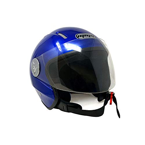 MMG 51 Motorcycle Scooter Pilot Open Face Helmet DOT, Blue, Medium