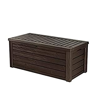 Keter Westwood 150 Gallon Resin Large Deck Box-Organization and Storage for Patio Furniture Outdoor Cushions Garden Tools and Pool Toys Brown