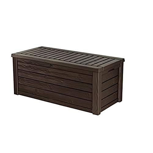 Keter Westwood 150 Gallon Resin Large Deck Box - Organization and Storage for Patio Furniture, Outdoor Cushions, Garden Tools and Pool Toys, Brown