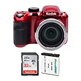 Kodak PIXPRO AZ421 Astro Zoom 16MP Digital Camera with 42x Optical Zoom (Red) with 32GB Card and Replacement Li-Ion Battery Bundle (3 Items)