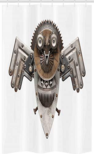 ABAKUHAUS industrieel Douchegordijn, Uil, voor Douchecabine Stoffen Badkamer Decoratie Set met Ophangringen, 120 x 180 cm, Grijs Wit Bruin