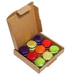 18 Luxury Vegan Fondant Cream Chocolates. Neat little Vegan gift box of chocolates. The chocolates are a standard 3cm diameter and 1cm tall. Strawberry, Lime, Lemon, Orange, Black Cherry Assortment Letterbox friendly, 100% UK Vegan confectionery.